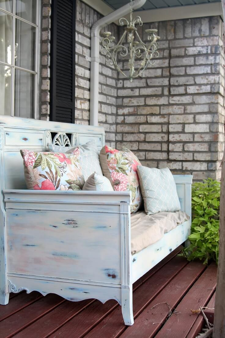 Pretty Patterned Outdoor Staging Area   Vintage Porch Decor Ideas
