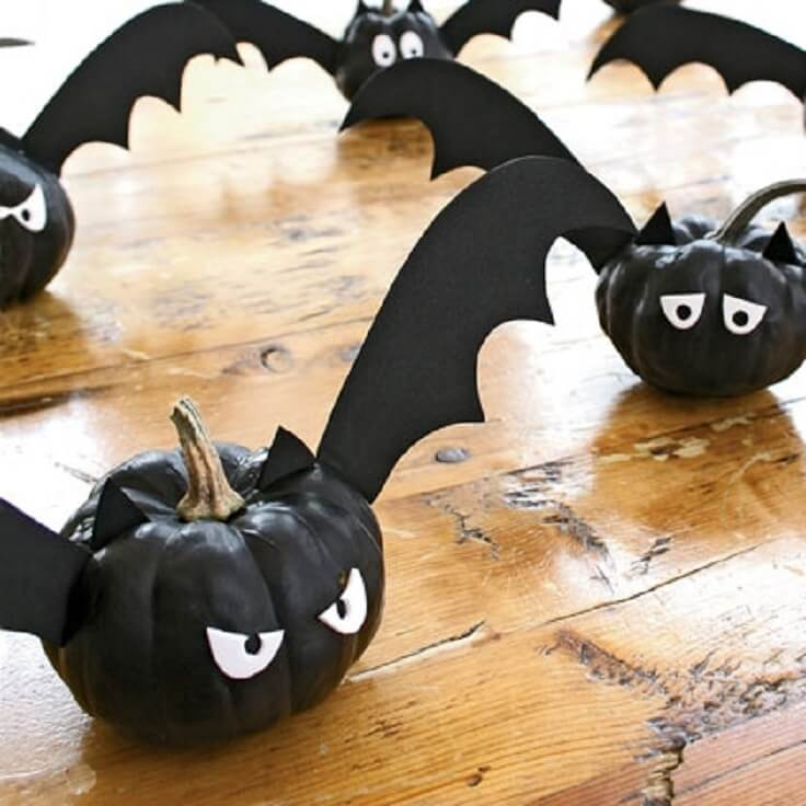 Sinister Bats Meet Painted Pumpkins | DIY Indoor Halloween Decorating Ideas