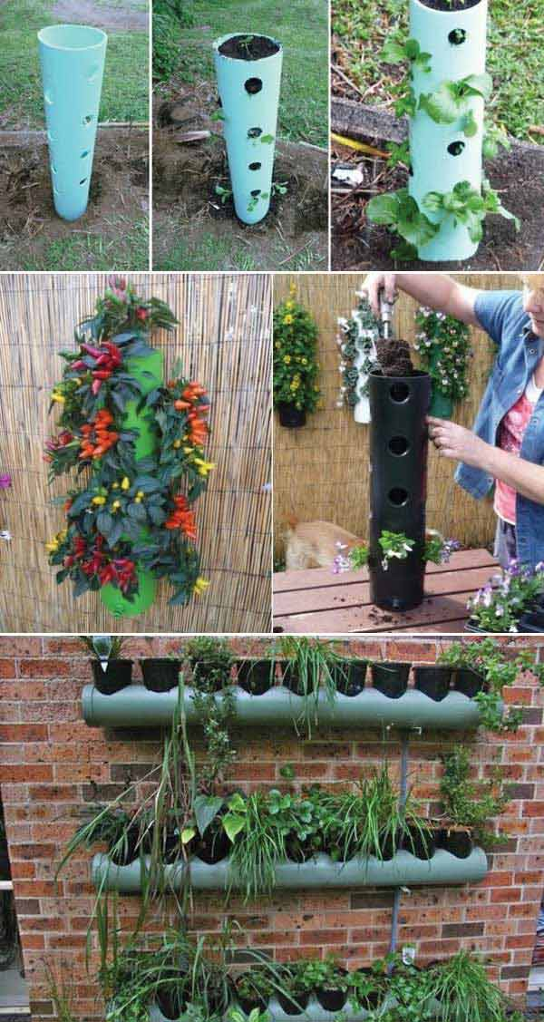 Use PVC pipes to build vertical planter | Clever Gardening Ideas on Low Budget