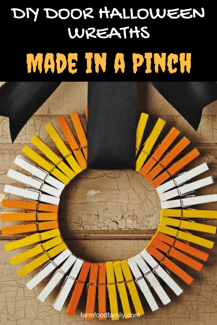 DIY Front Door Halloween Wreaths Tutorial - How to make a Wreath: Made in a Pinch