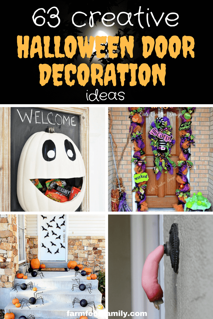 Check out these 63+ Amazing Halloween Front Door Decoration Ideas | DIY Halloween door Decorations scary