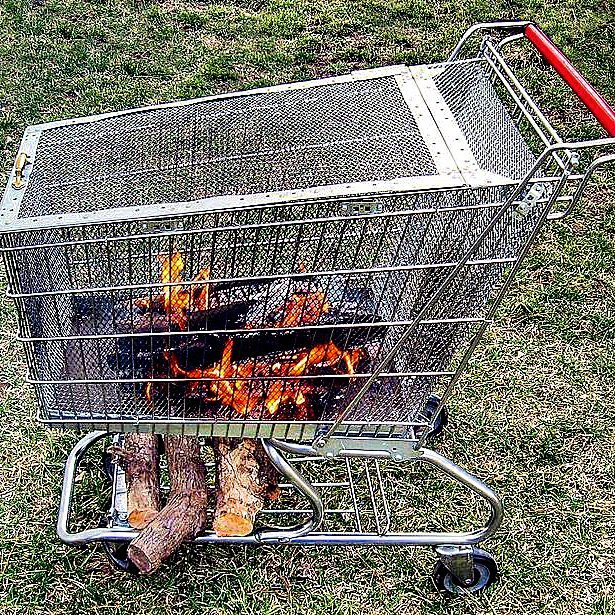 Portable Fire Pit with Built in Log Storage Rack   Awesome Firepit Area Ideas For Your Outdoor Activities