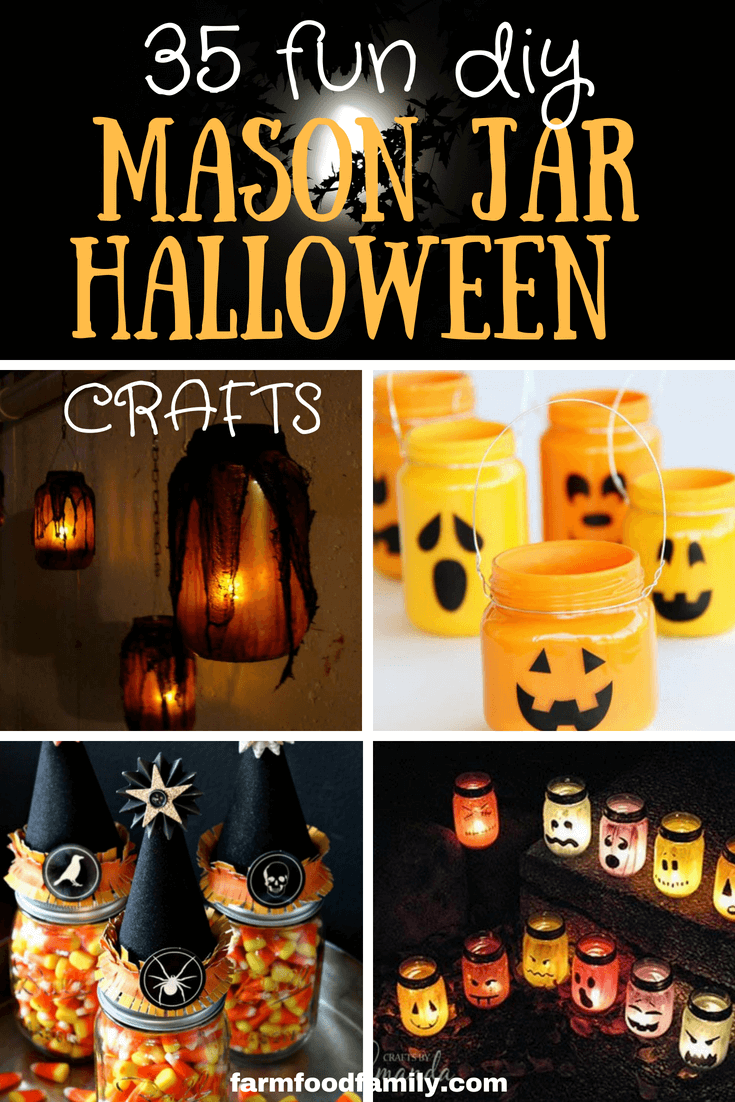 Halloween is the best time of year for creativity and scary. There are many ideas from costumes, decorations, make up to dishes. You can easily create these ideas from mason jars and some easy stuffs. I have collected over 35 Halloween mason jar craft ideas for you. Enjoy Halloween with your family! #halloweendecorations #masonjarcrafts #masonjars #farmfoodfamily