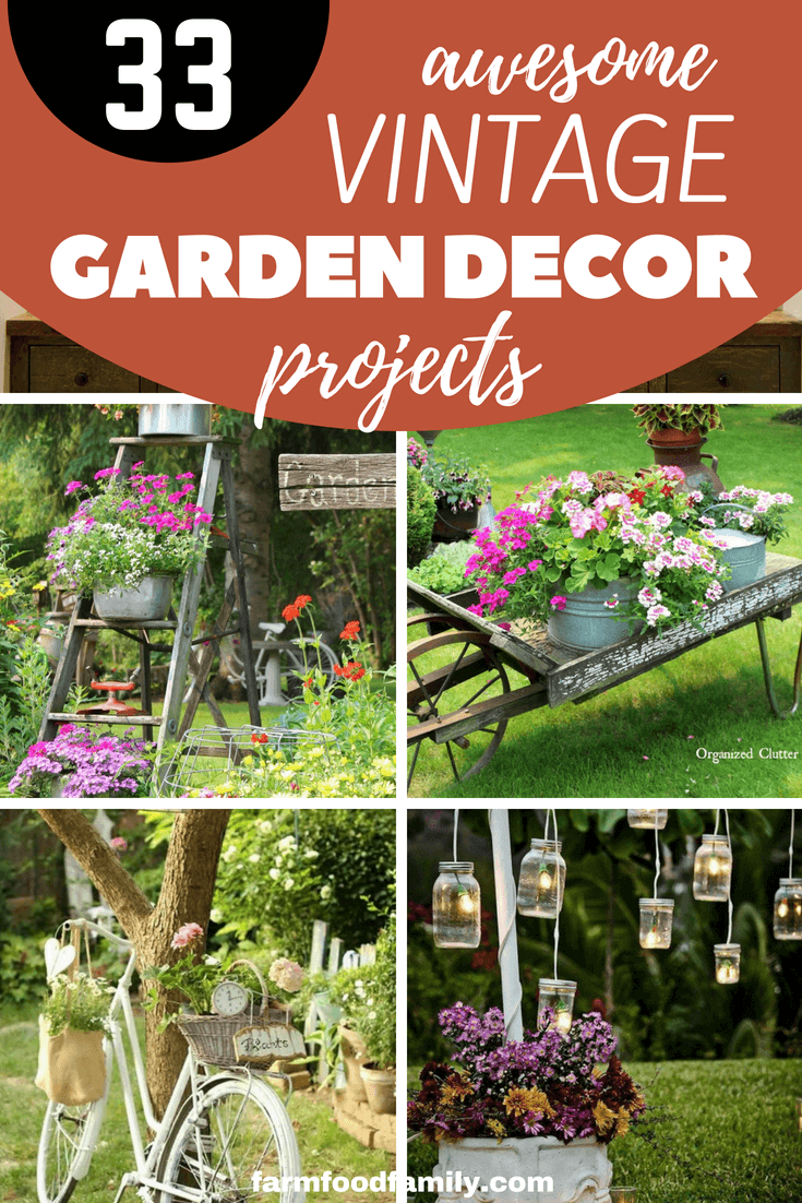 Looking for vintage garden decor designs & ideas? Take a look at these 33+ beautiful vintage garden decor ideas #gardenideas #decorations #vintage #farmfoodfamily