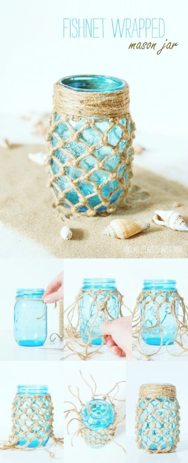 Jute Knotted Bottles | Creative DIY Garden Lantern Ideas - FarmFoodFamily.com
