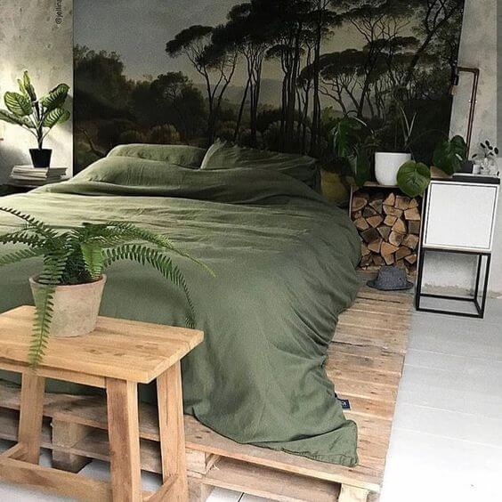 Urban jungle bedroom with a forest mural wallpaper background | Garden Theme Bedroom Ideas