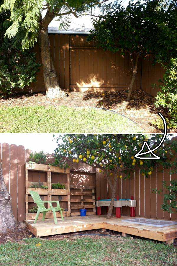 Kid's Pallet Wood Deck W/ PLANTER AND SANDBOX