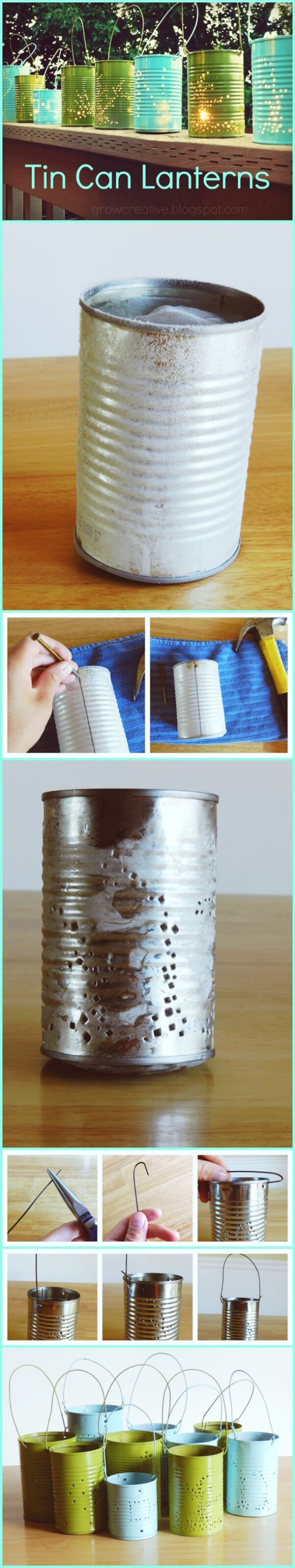 Tin Can Lantern | Creative DIY Garden Lantern Ideas - FarmFoodFamily.com