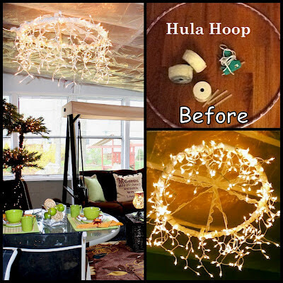 Hula hoop chandler | Creative DIY Garden Lantern Ideas - FarmFoodFamily.com