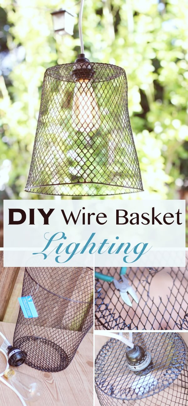 DIY Wire Basket Lighting | Creative DIY Garden Lantern Ideas - FarmFoodFamily.com