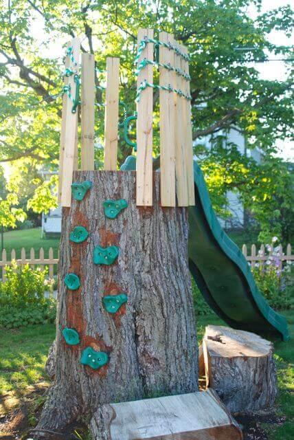 Climbing Wall Play Set | Tree Stump Decorating Ideas | How To Decorate a Tree Stump In Landscape