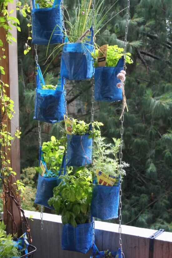 Hanging Garden With Shopping Bags | Low-Budget DIY Garden Pots and Containers