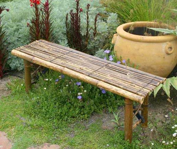 Garden Bench | Stunning Bamboo Craft Projects | FarmFoodFamily.com