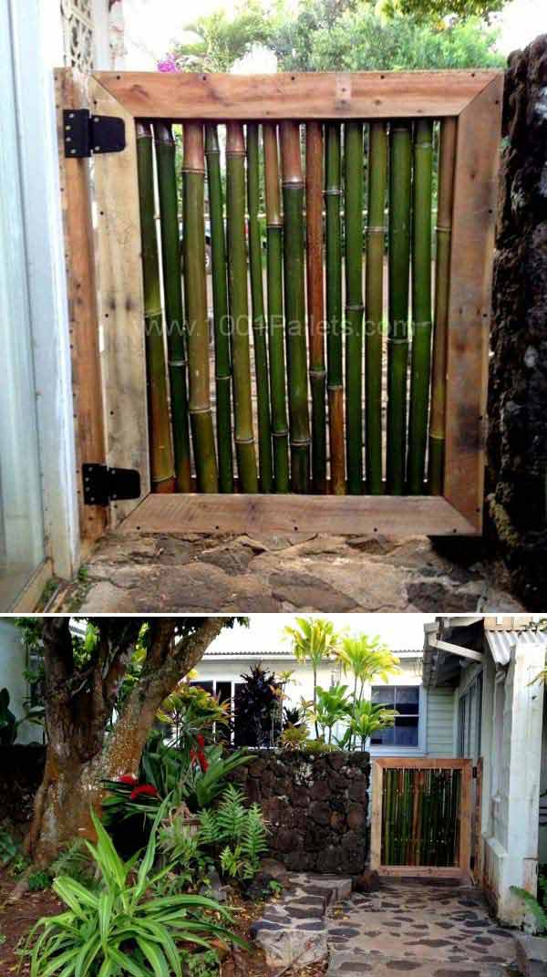 Pallet And Bamboo Courtyard Gate | Stunning Bamboo Craft Projects | FarmFoodFamily.com