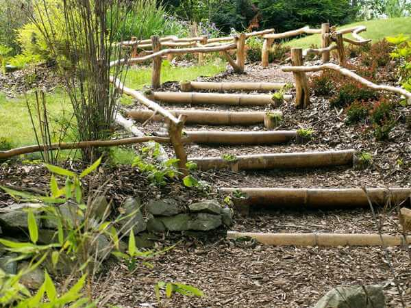 Outside Staircase Made of bamboo and Logs | Creative Garden Step & Stair Ideas | FarmFoodFamily