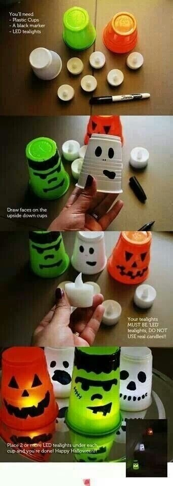 Candle Light Cups | Last-Minute Halloween Crafts and Hacks | FarmFoodFamily.com