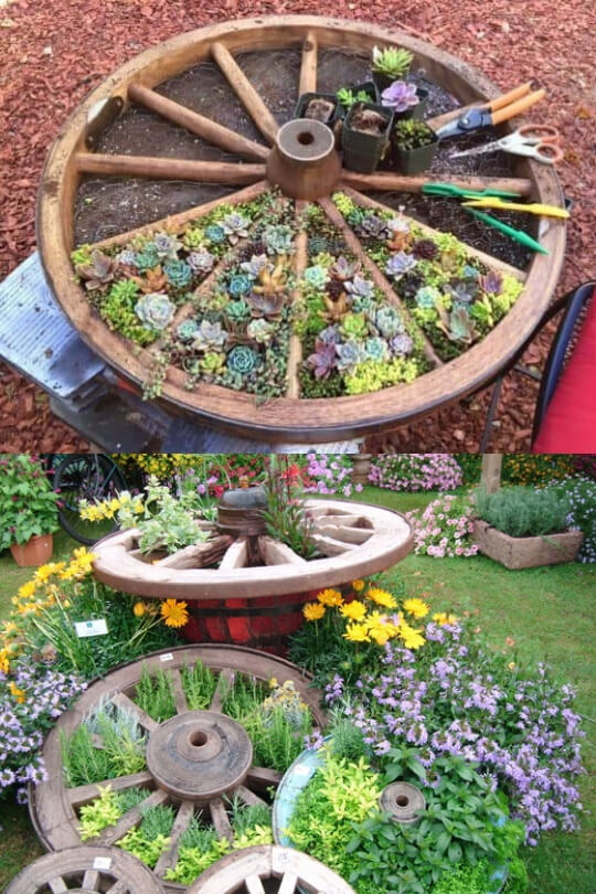 Wheel herb garden | Cool Round Garden Bed Ideas For Landscape Design - FarmFoodFamily.com #raisedgarden #raisedgardenbed #gardenbed