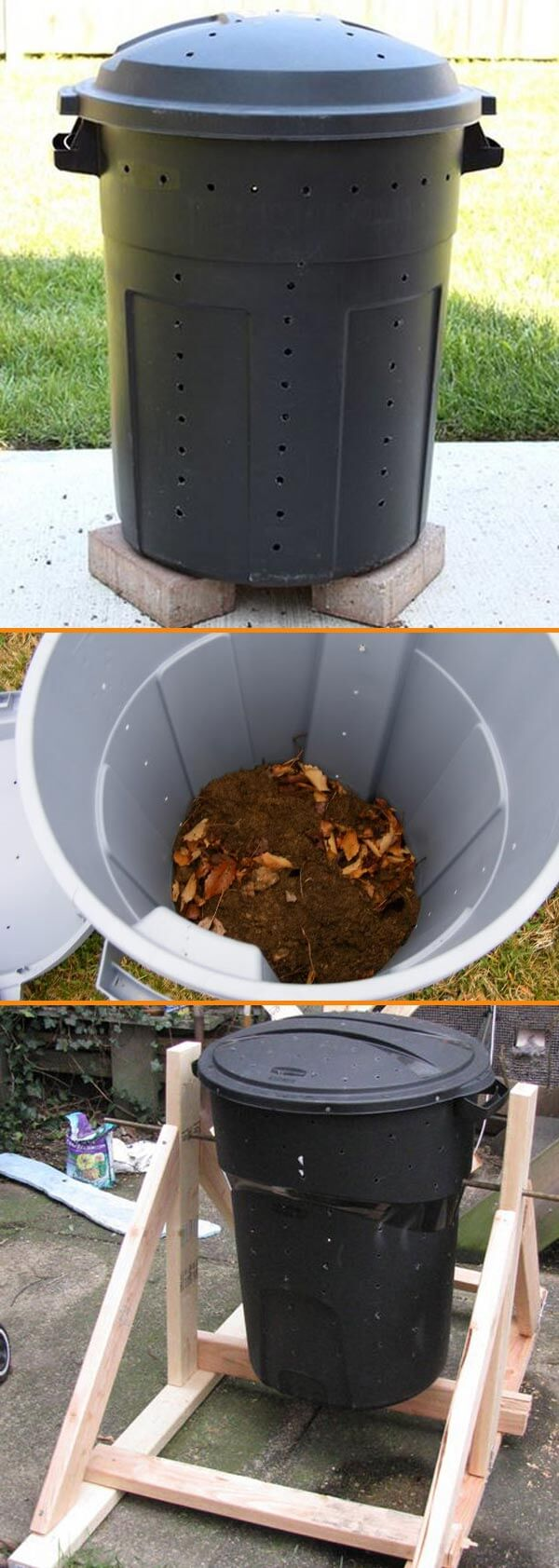 DIY Compost Bin from Trash can under $20 | Easy Compost Bins You Can DIY On Very Low Budget - FarmFoodFamily.com