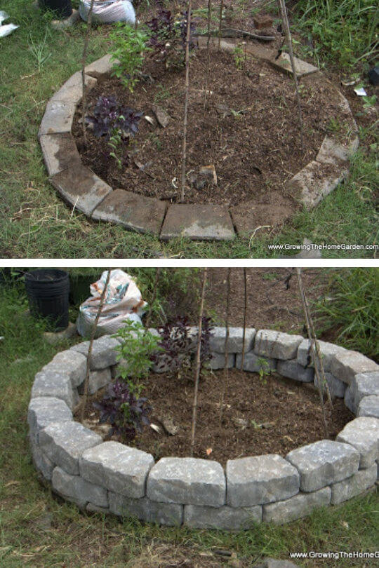 Stone garden bed   Cool Round Garden Bed Ideas For Landscape Design - FarmFoodFamily.com #raisedgarden #raisedgardenbed #gardenbed