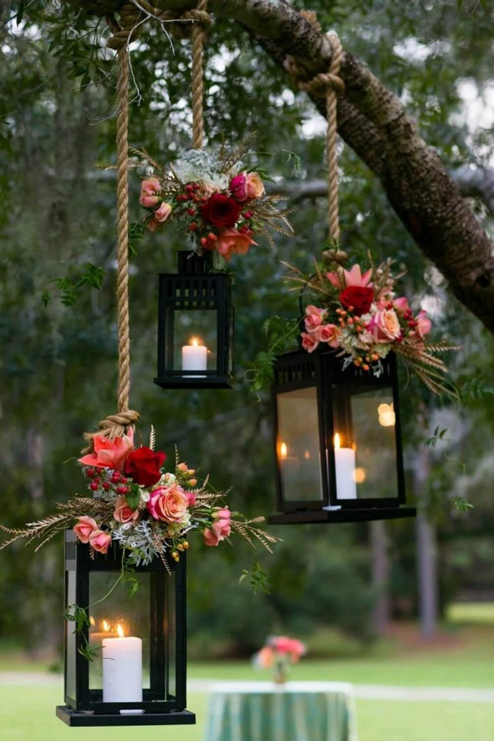 Hanging Candles | Creative DIY Garden Lantern Ideas - FarmFoodFamily.com