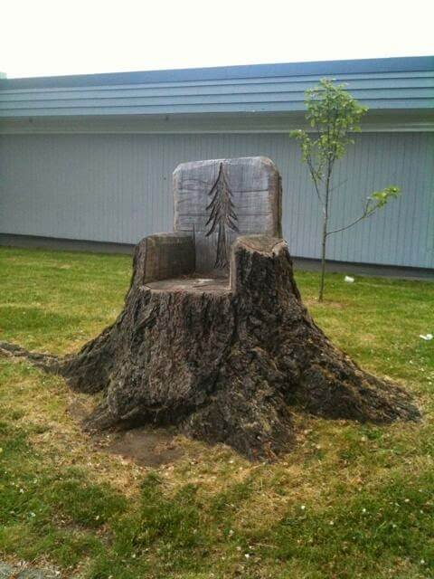 Tree Stump Chair | Tree Stump Decorating Ideas | How To Decorate a Tree Stump In Landscape