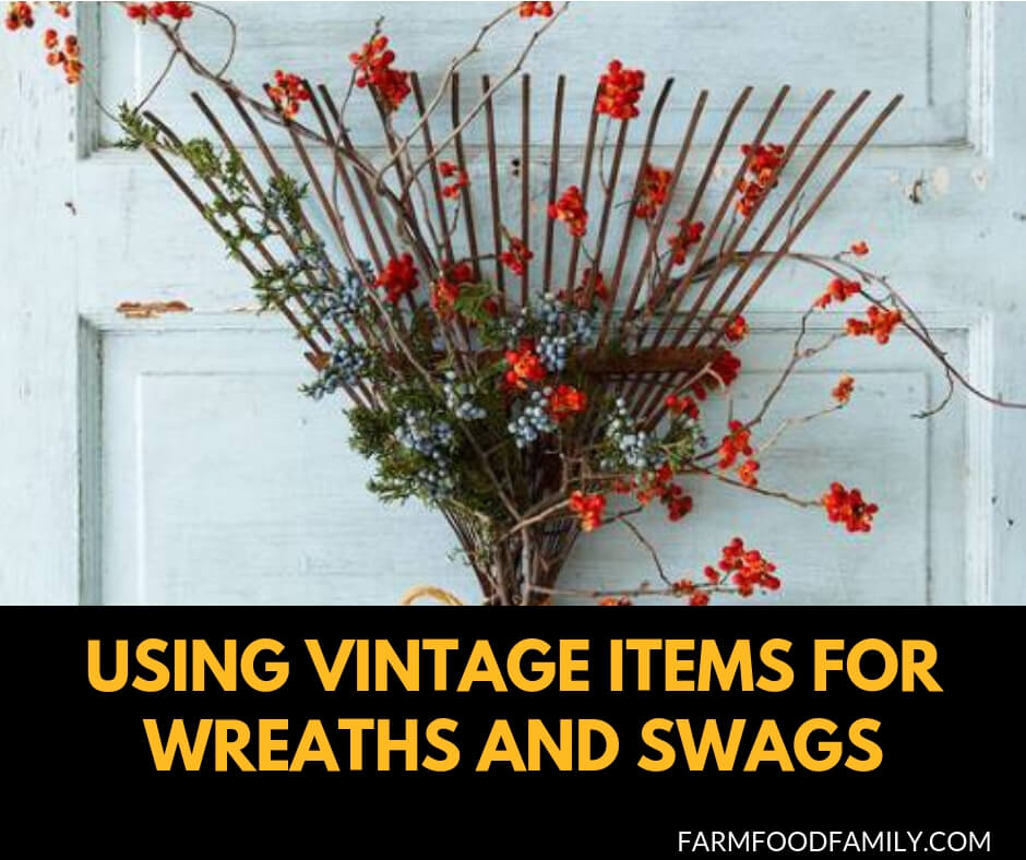 Using vintage items for wreaths and swags