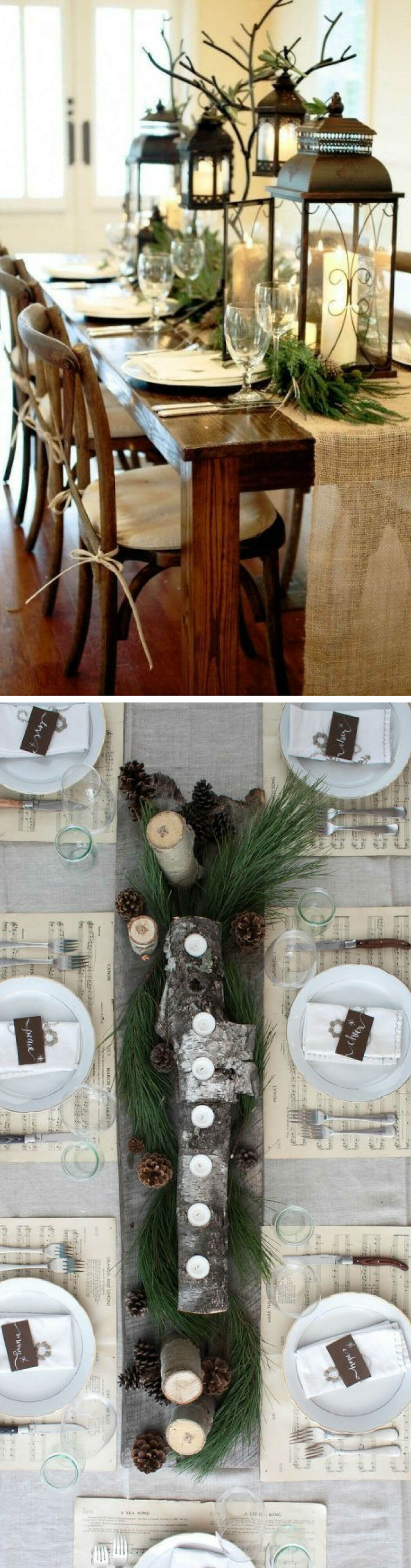 Winter decoration: Burlap, lanterns, & greenery | Best Elegant Christmas Centerpieces & Designs | Farmfoodfamily.com