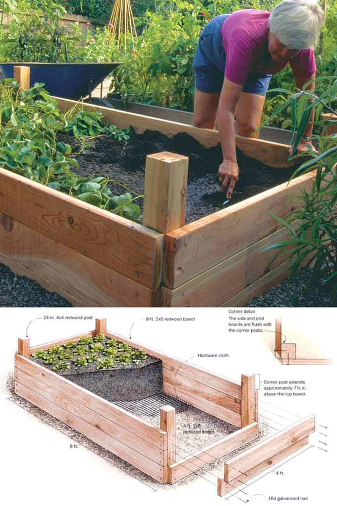 Raised bed with 4×4 posts | How to Build a Raised Vegetable Garden Bed | 39+ Simple & Cheap Raised Vegetable Garden Bed Ideas - farmfoodfamily.com