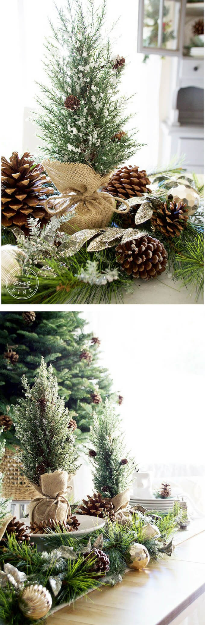Pinecone ornaments & Wreaths | Best Elegant Christmas Centerpieces & Designs | Farmfoodfamily.com