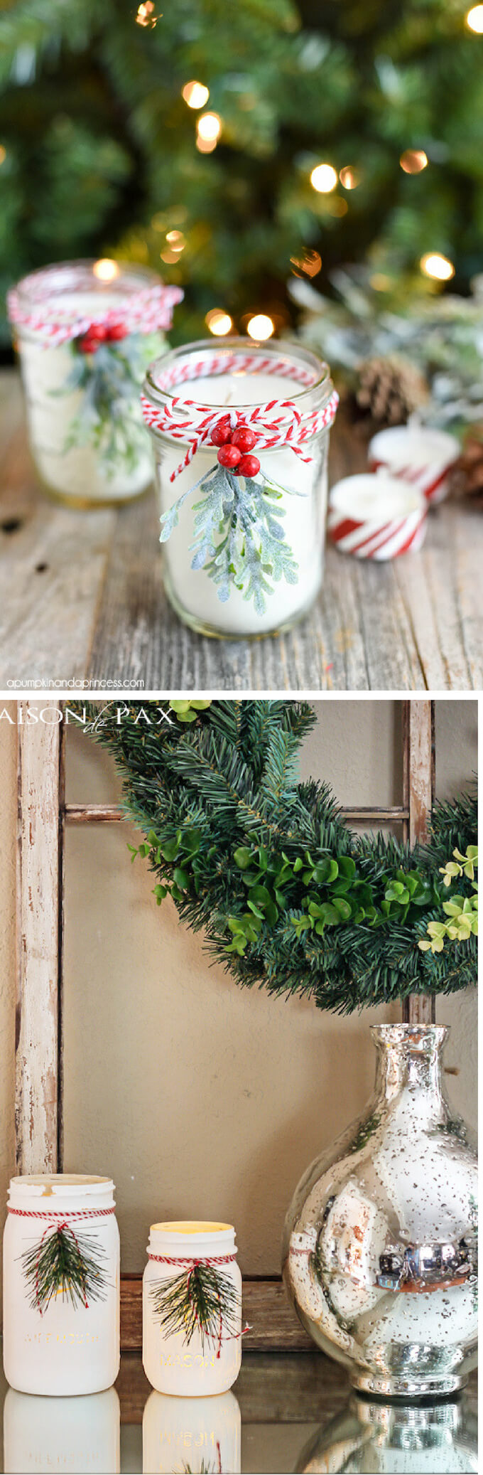 Mason Jar Candles | Best Elegant Christmas Centerpieces & Designs | Farmfoodfamily.com