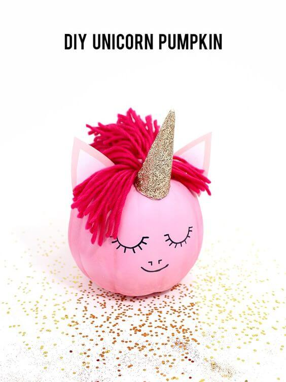Unicorn Pumpkin | No-Carve Pumpkin Decorating Ideas For This Halloween