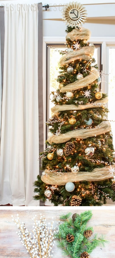 Rustic Glam Christmas Tree | Best Way to Decorate Christmas Trees on a Budget: Inexpensive or Free & Easy Holiday Ornaments & Decorations