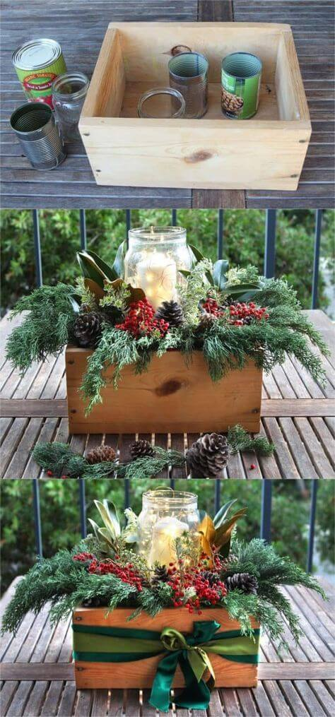 DIY Christmas table decorations centerpiece for $1 | Best Elegant Christmas Centerpieces & Designs | Farmfoodfamily.com