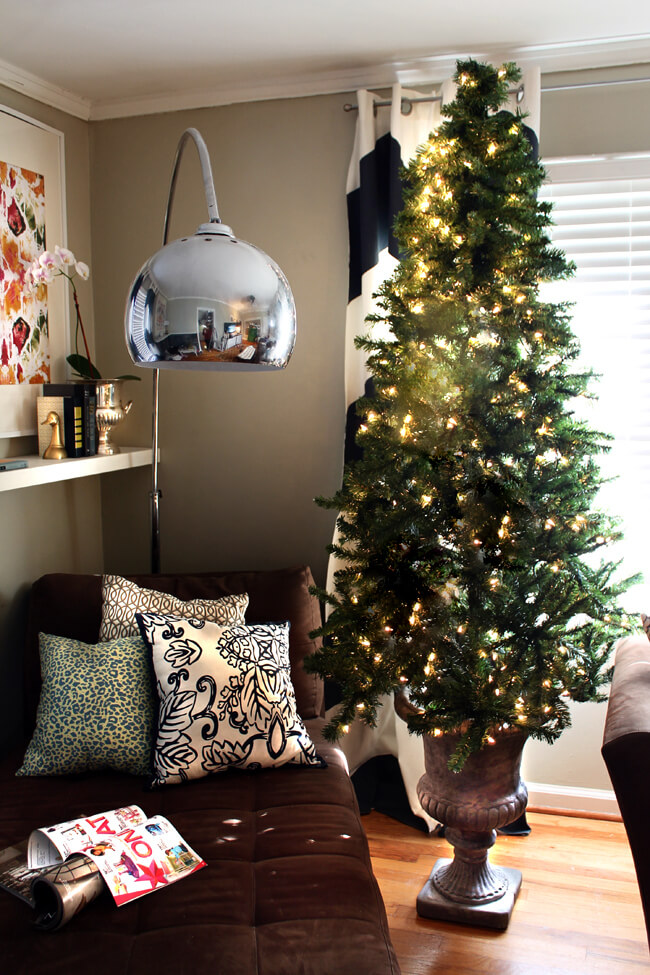 Urn Christmas Tree | Best Way to Decorate Christmas Trees on a Budget: Inexpensive or Free & Easy Holiday Ornaments & Decorations