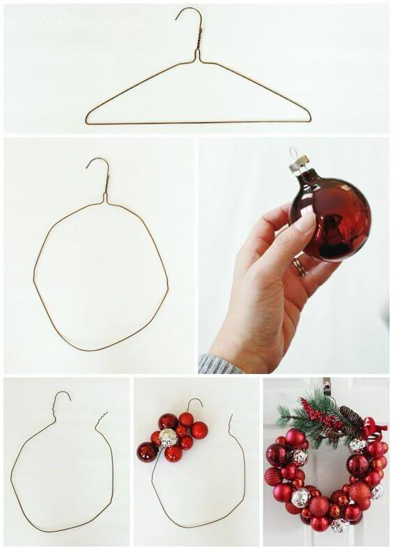 How to Make a Christmas Ornament Wreath With a Wire Hanger | Creative, Easy, and Inexpensive Christmas Wreaths | Farmfoodfamily.com