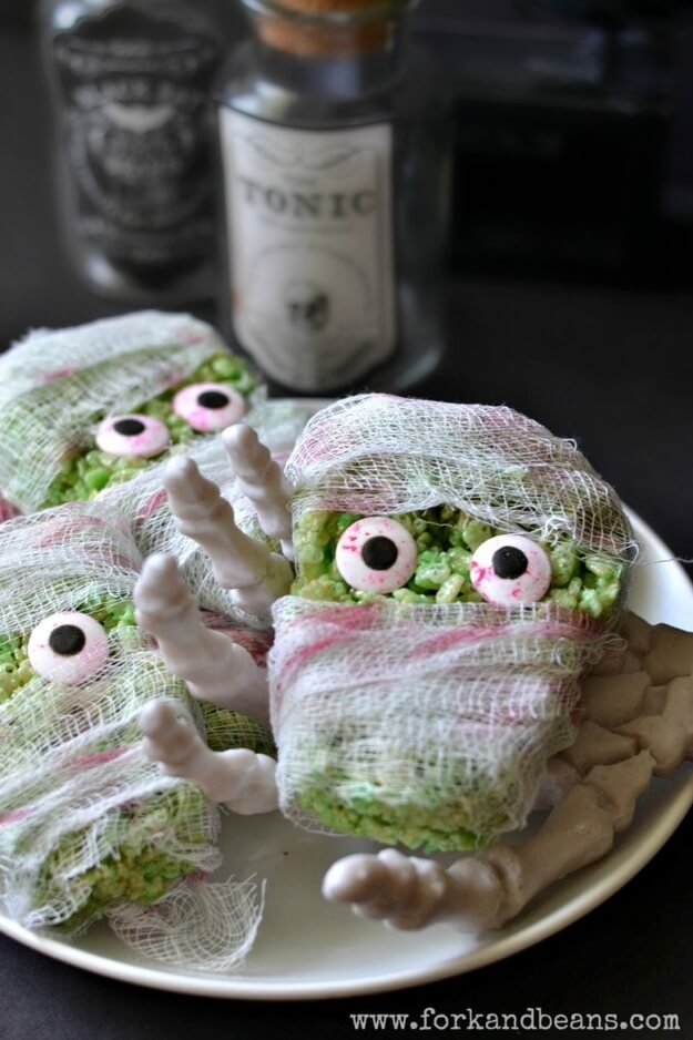 Monster Rice Cereal Treats | Halloween Party Food Ideas | Halloween Party Themes For Adults
