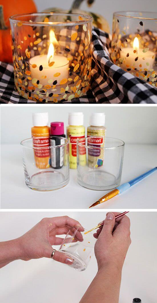 Inspired Painted Candle Holders | DIY Fall Candle Decoration Ideas - Farmfoodfamily.com