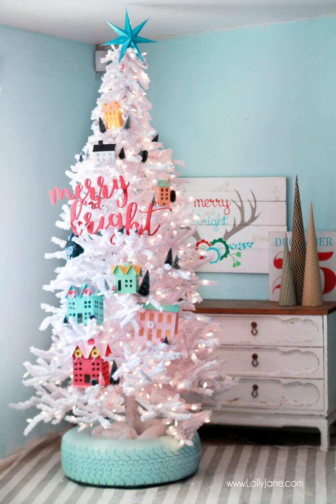 Recycled Tire Christmas Tree Base | Best Way to Decorate Christmas Trees on a Budget: Inexpensive or Free & Easy Holiday Ornaments & Decorations