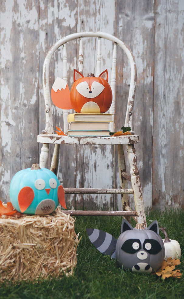 Woodland | No-Carve Pumpkin Decorating Ideas For This Halloween
