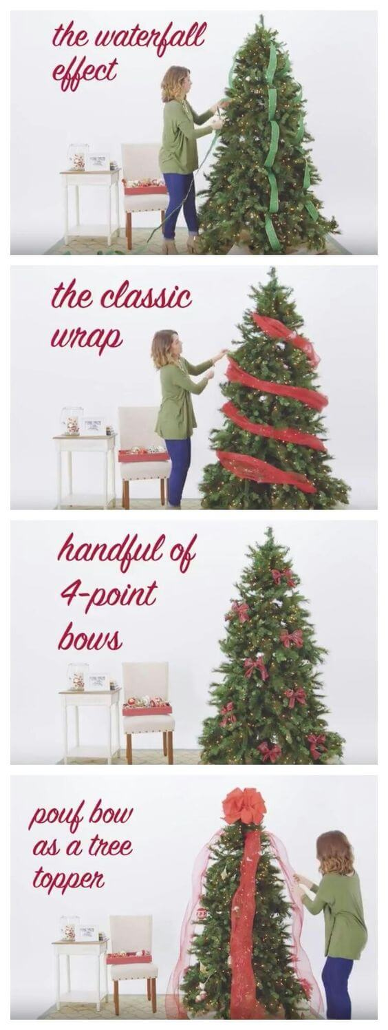 Christmas tree ribbon garlands 4 ways | Best Way to Decorate Christmas Trees on a Budget: Inexpensive or Free & Easy Holiday Ornaments & Decorations