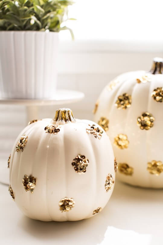 Sequin polka | No-Carve Pumpkin Decorating Ideas For This Halloween