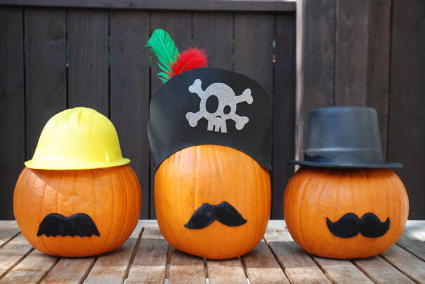 Mustaches | No-Carve Pumpkin Decorating Ideas For This Halloween