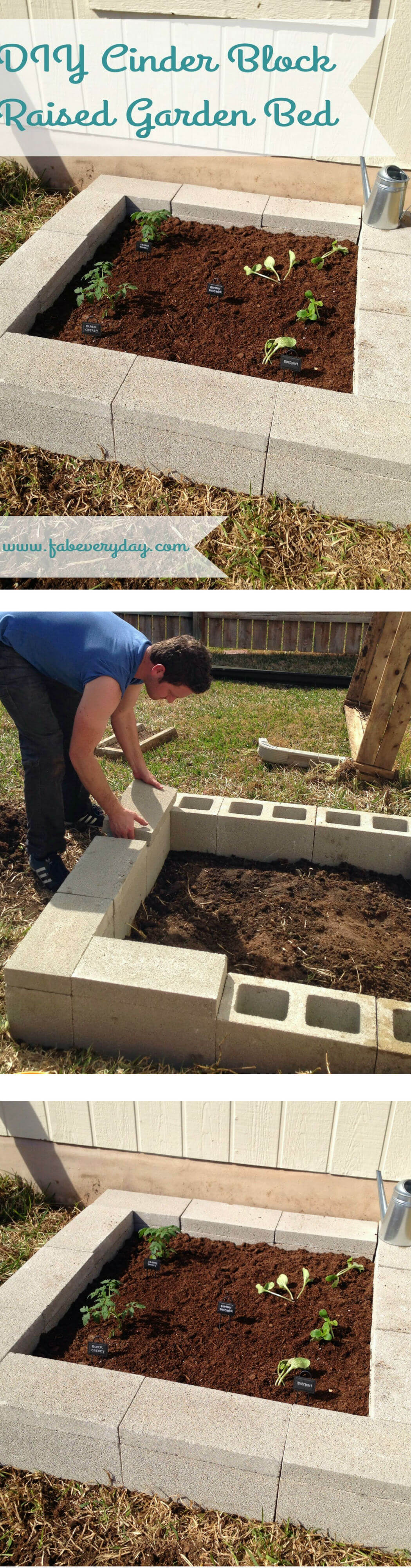 DIY Cinder Block Raised Garden Bed | How to Build a Raised Vegetable Garden Bed | 39+ Simple & Cheap Raised Vegetable Garden Bed Ideas - farmfoodfamily.com