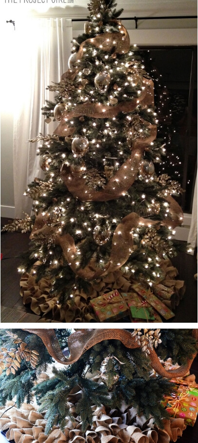 Night-time Christmas tree | Best Way to Decorate Christmas Trees on a Budget: Inexpensive or Free & Easy Holiday Ornaments & Decorations