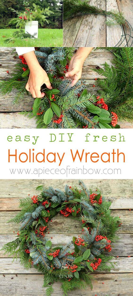 Make a beautiful Christmas wreath using fresh evergreen cuttings in 20 minutes | Creative, Easy, and Inexpensive Christmas Wreaths | Farmfoodfamily.com