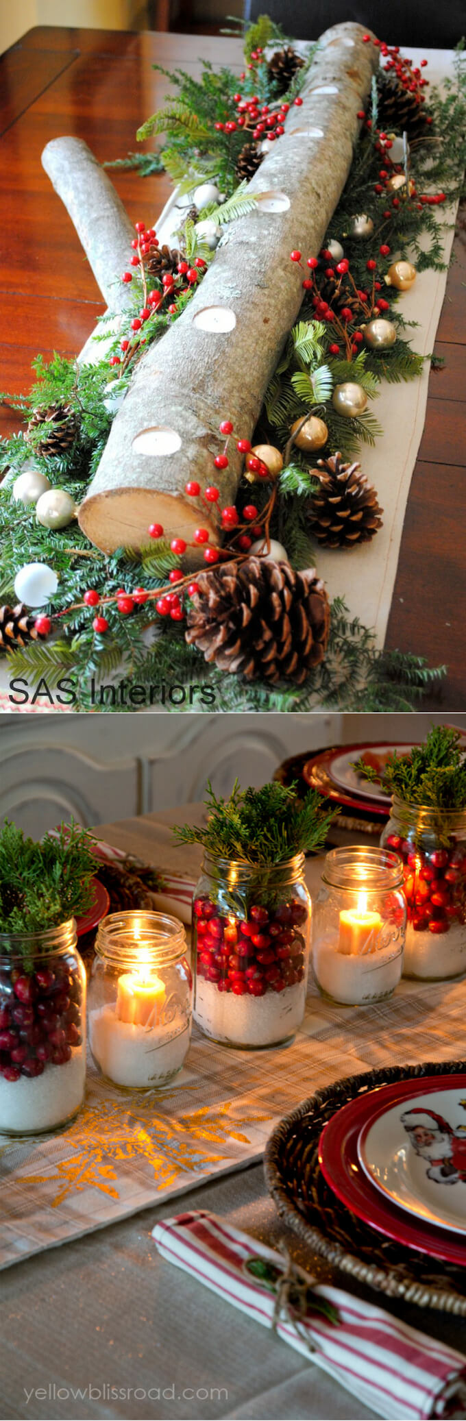 Mason Jars & Log Mantel | Best Elegant Christmas Centerpieces & Designs | Farmfoodfamily.com