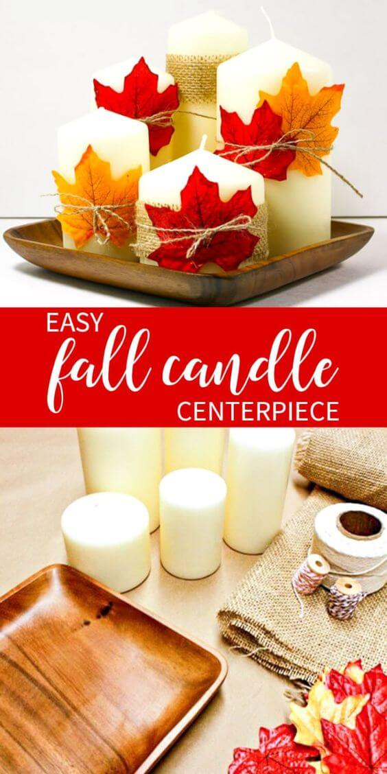 Easy & Inexpensive Way to Create a Fall Candle Centerpiece | DIY Fall Candle Decoration Ideas - Farmfoodfamily.com
