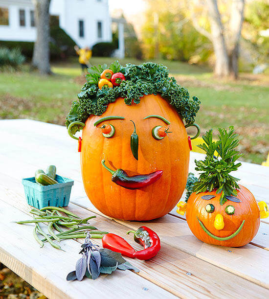 Veggie Heads | No-Carve Pumpkin Decorating Ideas For This Halloween