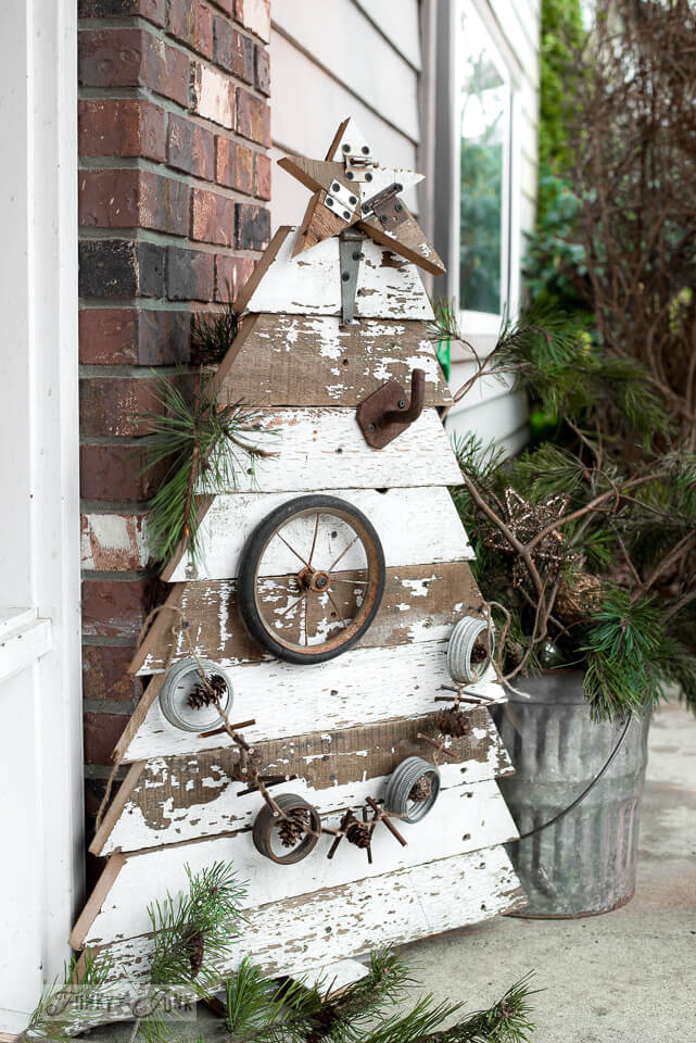 Scrooge-less reclaimed wood Christmas tree and star