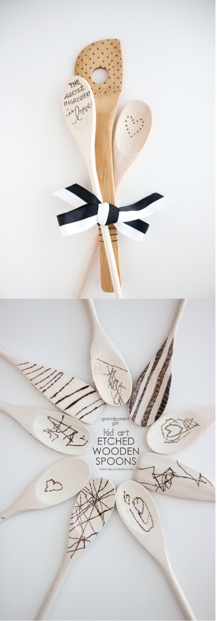 Kid art etched wooden spoons | Christmas Gifts for Grandparents: Creative Holiday Ideas for Grandma and Grandpa